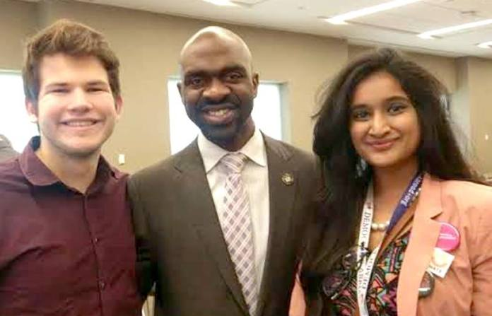 Democrats Abroad International Chair Candidate Sarala Morusupalli and I with DNC Vice-Chair Michael Blake