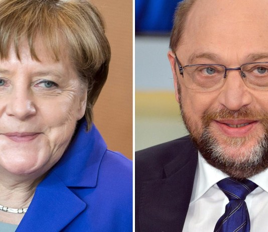 Angela Merkel and her main opponent, Martin Schulz -- munichFOTO