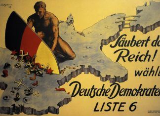 Clean Up The Reich! Vote German Democrat! DDP Poster. 1928.