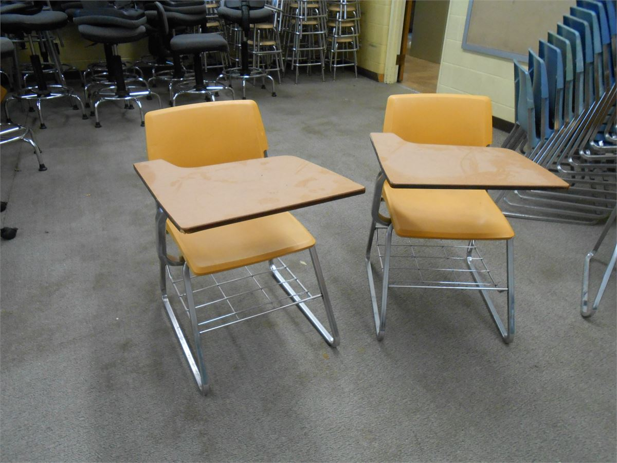 student desk chair combo adams adirondack stacking in banana high school 12 per lot online government