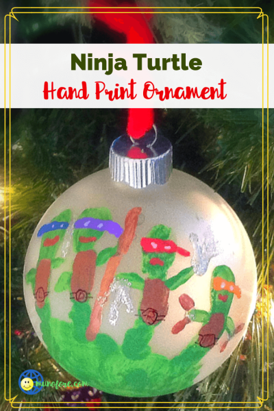 TMNT Hand print ornament on a tree