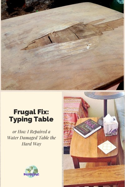 collage of waterstained table repair