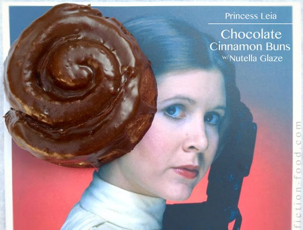 Princess Leia Chocolate Cinnamon Buns with Nutella Frosting from Fiction Food Cafe.
