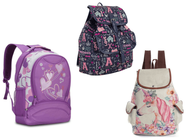 collage of backpacks