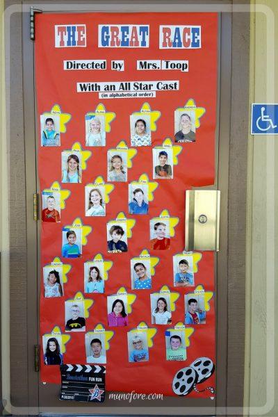 Hollywood Themed Classroom Door Decoration for Boosterthon Fun Run. Movie theme door decoration.