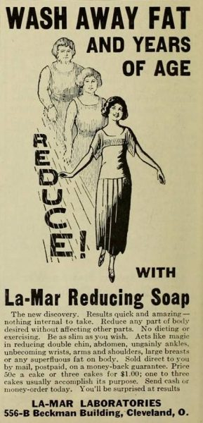 Vintage print health ads with audacious medical claims: Dr. Pepper, 7-UP, Le-Mar Reducing Soap, Blatz Beer, Lucky Strike and more.