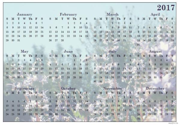 2017 sage blossom calendar