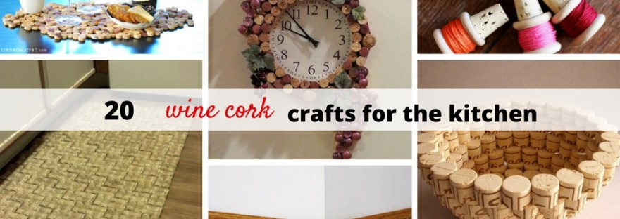 20 Creative and Useful Cork Crafts for Your Kitchen including magnets, coasters, backsplash, baseboards and a chandelier.
