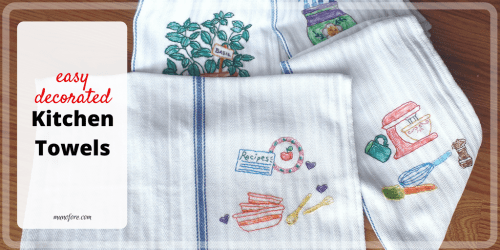 Easy decorated kitchen towels. Hand sewn and colored kitchen towels. Homemade gifts.