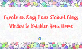 """mosaic background with text """"Create an Easy Faux Stained Glass Window to Brighten Your Home"""""""
