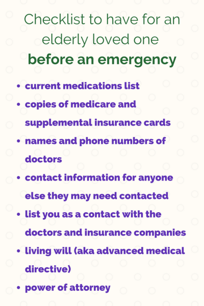 checklist for elderly to have before an emergency