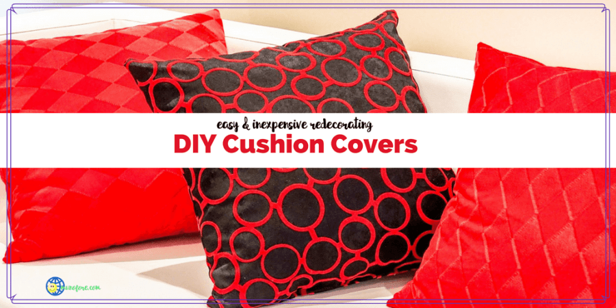 "drawing of pillows on a couch with text ""DIY Cushion Covers easy and inexpensive redecorating"""