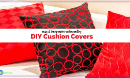 """drawing of pillows on a couch with text """"DIY Cushion Covers easy and inexpensive redecorating"""""""