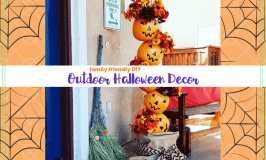 """Halloween decorations on a prch with text overlay """"Falimy Friendly DIY Outdoor Halloween Decor"""""""