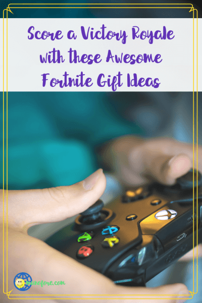 """hands holding a video game controller with text overlay """"Score a Victory Royale with these awesome Fortnite gift ideas"""""""