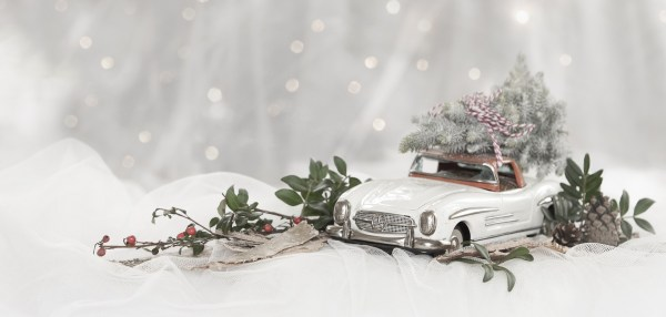 toy car with tree on top and greenery scene