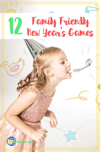 """girls in party hats with text overlay """"12 Family Friendly New Year's Eve Games"""