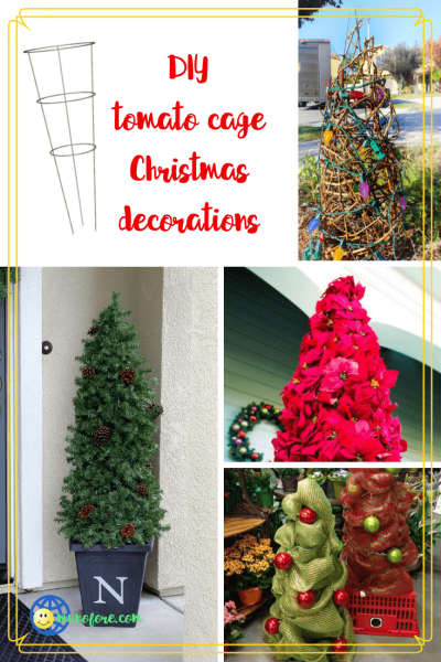 collage of tomato cage Christmas trees
