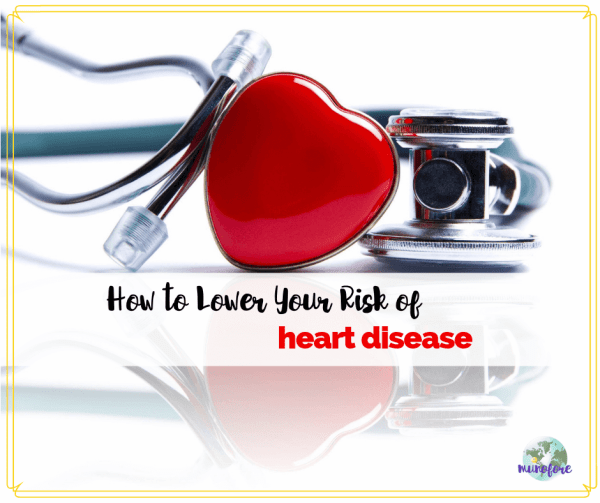 """stethoscope and red heart with text overlay """"How to Lower Your Risk of Heart Disease"""