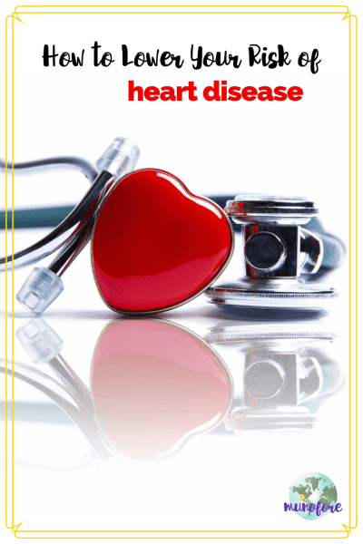 """stethoscope and red heart shape with text overlay """"How to Lower Your Risk of Heart Disease"""""""