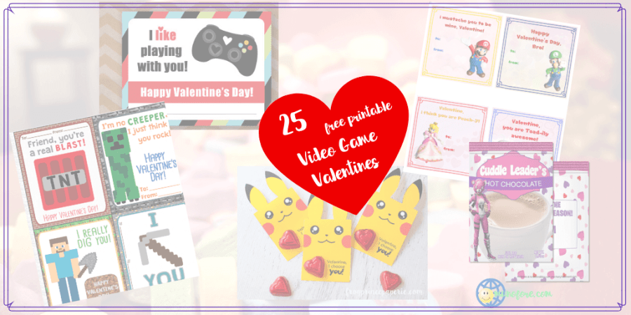 "collage of video game themed Valentines with text overlay ""25 free printable video game valentines"""