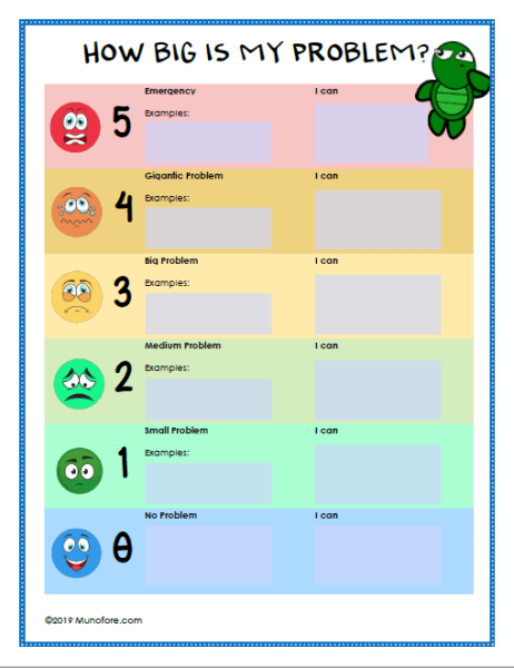 How big is my problem printable form