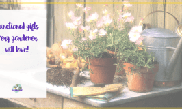 """gardening bench with text overlay """"30 functional gifts every gardener will love"""""""