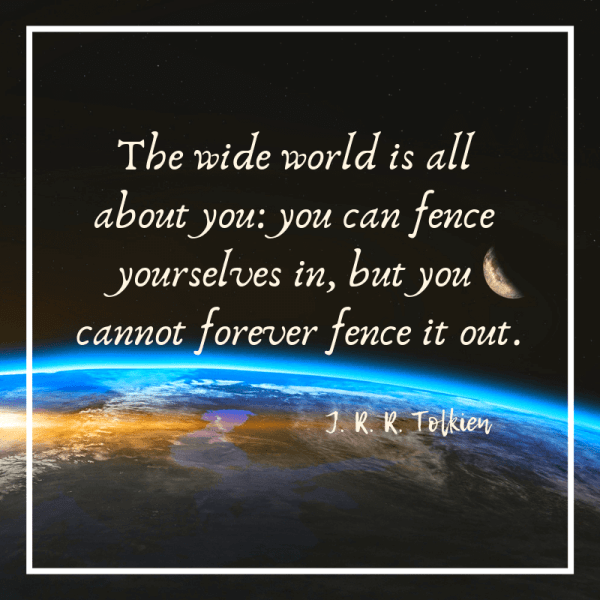 The wide world is all about you quote from Tolkien