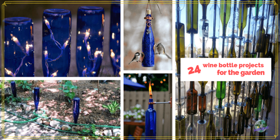 collage of wine bottle projects for the garden