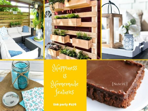 collage of features for Happiness is Homemade Link Party