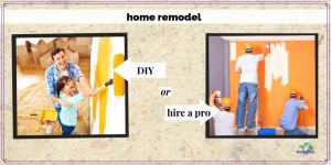 pictures of couple painting and workers remodeling a home