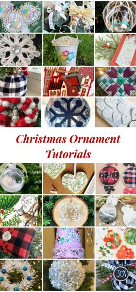 collage of homemade Christmas ornaments