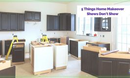 """kitchen remodel with text overlay """"5 Things Home Makeover shows don't show"""""""