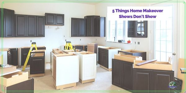 "kitchen remodel with text overlay ""5 Things Home Makeover shows don't show"""