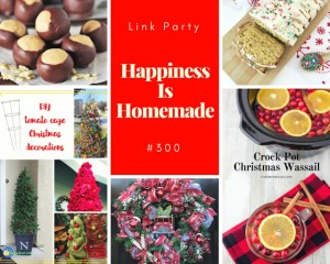 Happiness is Homemade Features: Crunchy Buckeyes, Wassail, Eggnog Bread, Red Truck Christmas Wreath and Tomato Cage Christmas Trees