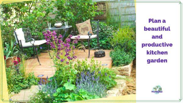 "patio kitchen garden with text overlay ""how to plan a kitchen garden"""