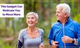 """older couple walking in woods with text overlay """"This gadget can motivate you to move more"""""""