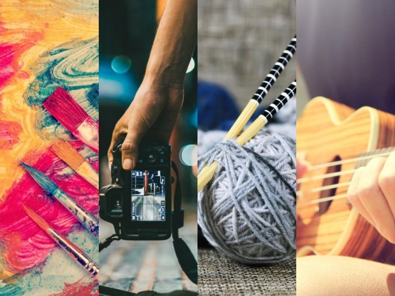 collage of paint brushes, camera, yarn with knitting needles and guitar