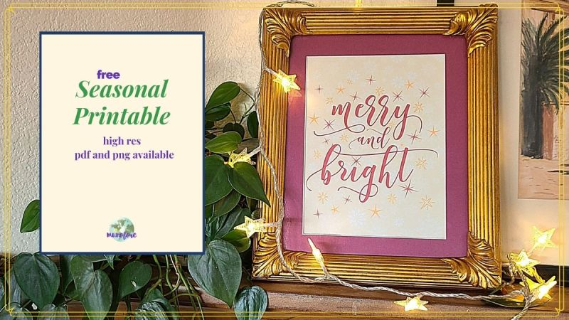 "Merry and Bright sign on a mantle surrounded by Christmas lights with text overlay ""Free Christmas Printable"""