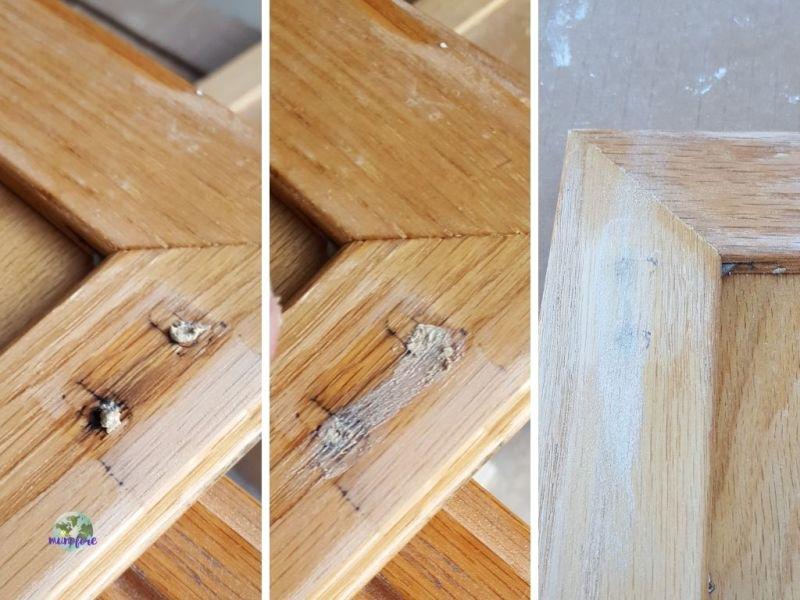 3 stages of repairing holes in cabinet door
