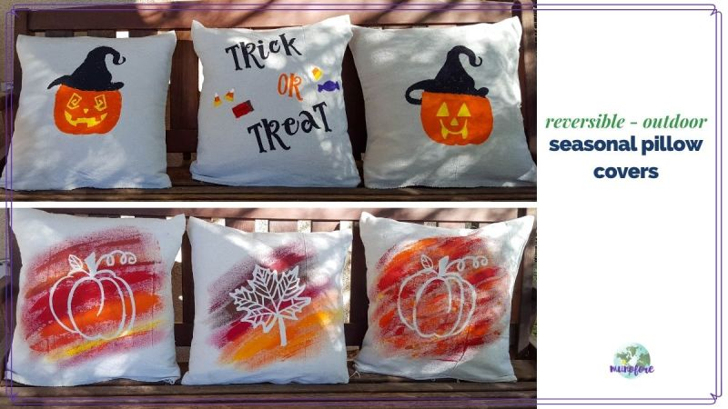 "images of fall and halloween pillows on a bench with text overlay ""reversible outdoor seasonal pillow covers"""