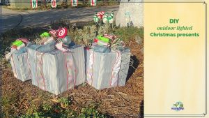"""Christmas gift decorations on display in front yard with text overlay """"DIY outdoor lighted Christmas presents"""""""