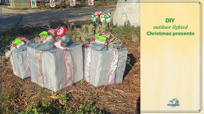 "Christmas gift decorations on display in front yard with text overlay ""DIY outdoor lighted Christmas presents"""