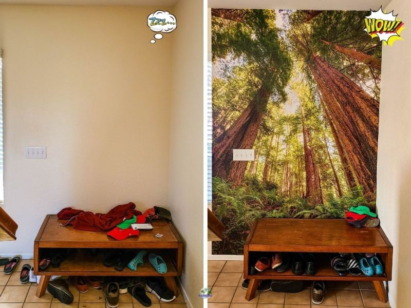 collage of before and after photos of wall mural installation
