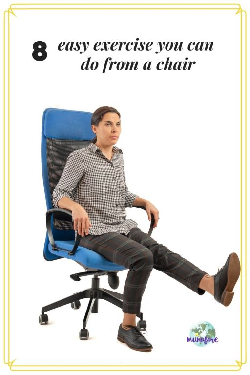 "woman in office chair exercising with text overlay ""easy exercises you can do from a chair"""