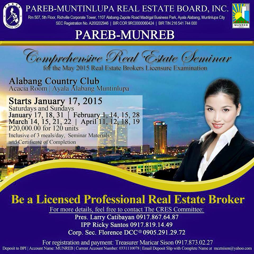 The MUNREB Post  The Official Blog of the PAREBMuntinlupa Real Estate Board