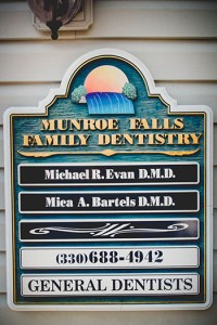 Contact phone number on our building sign at Munroe Falls Family Dentistry.