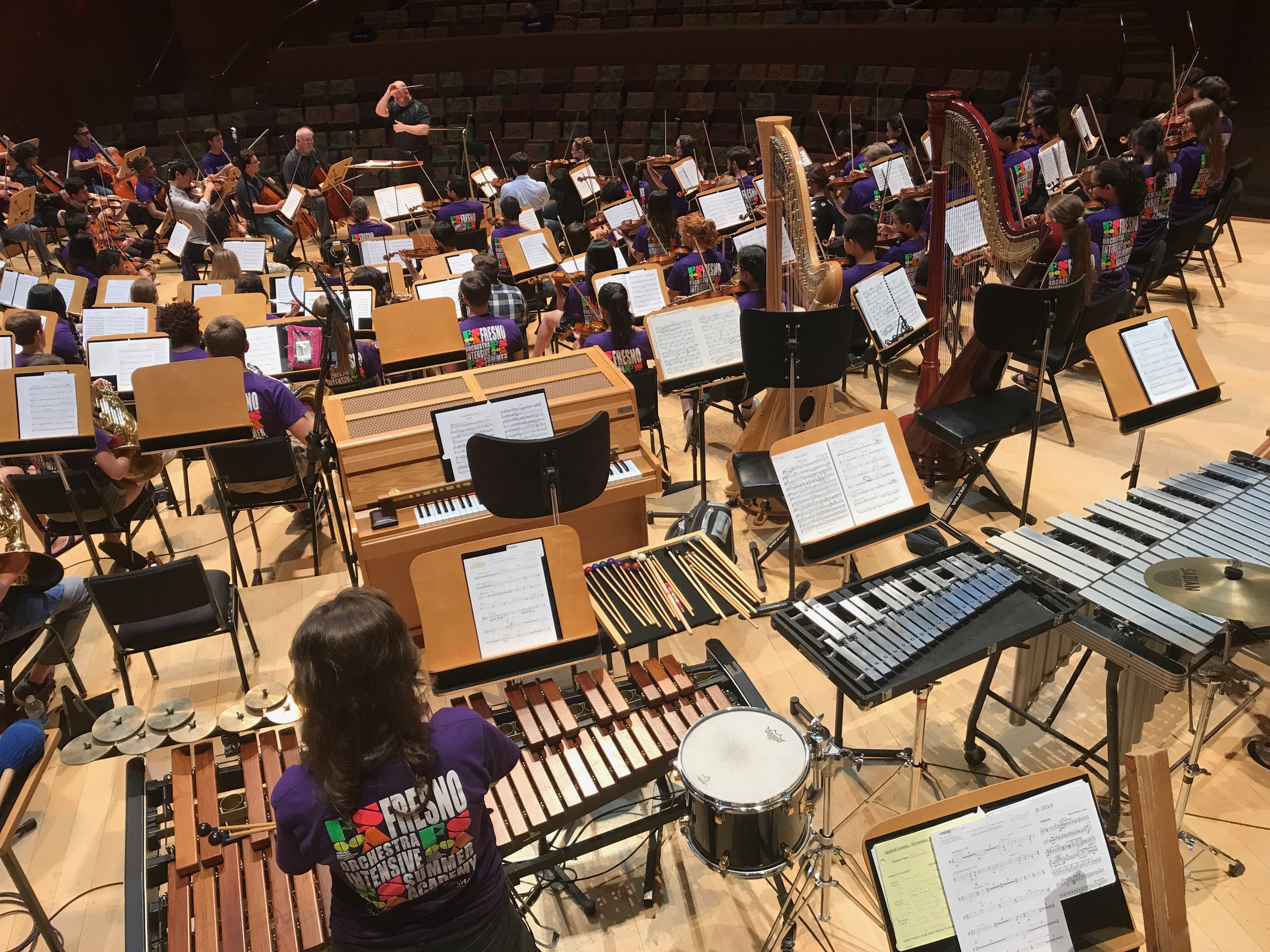 Los Angeles rehearsal: The FOOSA Summer Orchestra Academy rehearses Friday afternoon at Walt Disney Concert Hall. Photo / The Munro Review