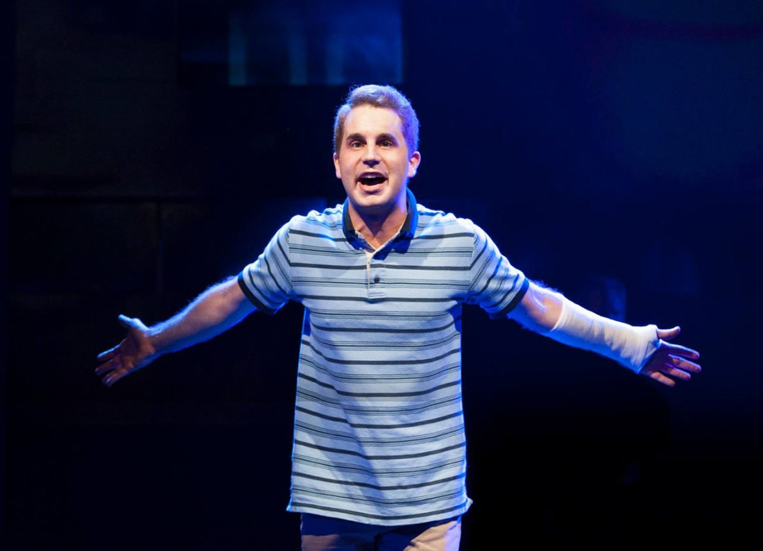 Photograph of Ben Platt onstage in Dear Evan Hansen