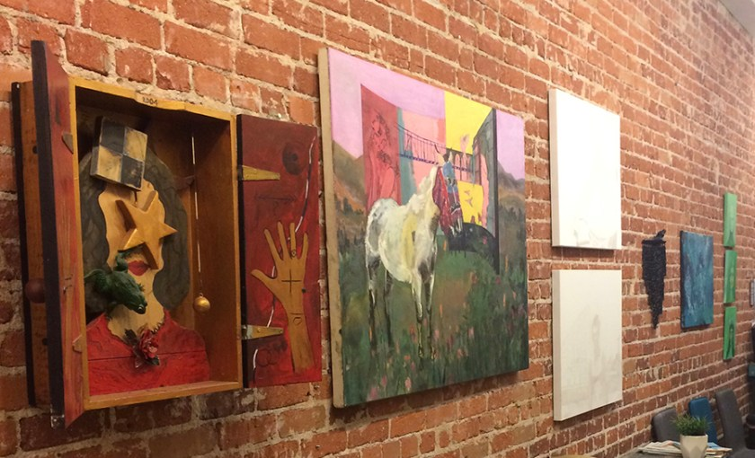 Photograph of works installed in art exhibition at Fresno Music Academy and Arts.